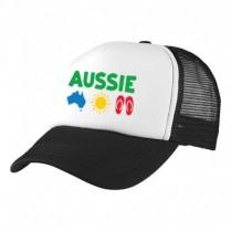 2-3XL Black / White Trucker Cap with Aussie Logo (Aussie icons)
