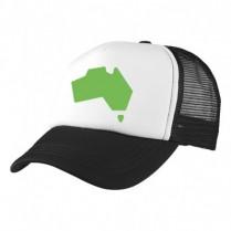2-3XL Black / White Trucker Cap with Beer Logo (Green Aussie Map)
