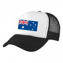 2-3XL Black / White Trucker Cap with Aussie Logo (Aussie Flag)