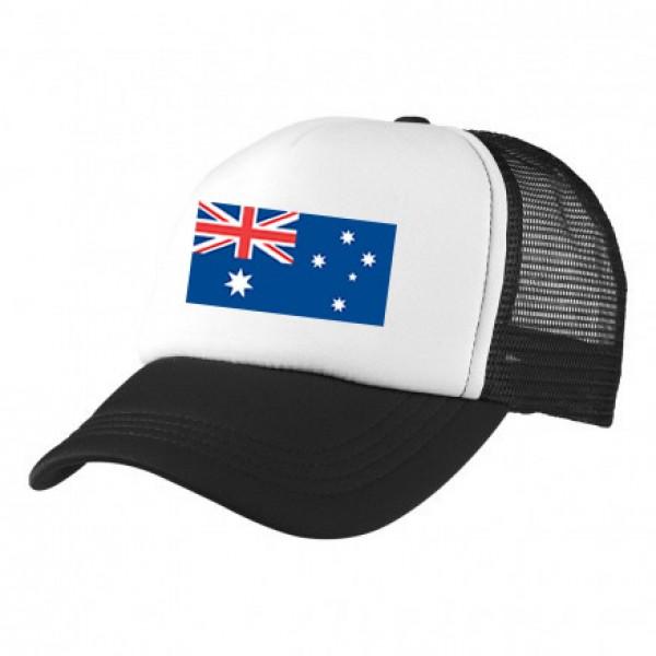 2-3XL Black / White Trucker Cap with Beer Logo (Aussie Flag)