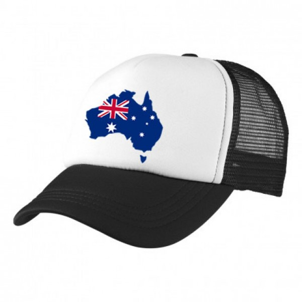 2-3XL Black / White Trucker Cap with Aussie Logo (Map with Southern Cross)