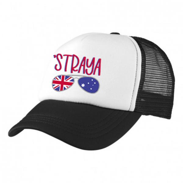 2-3XL Black / White Trucker Cap with Aussie Logo (Straya)