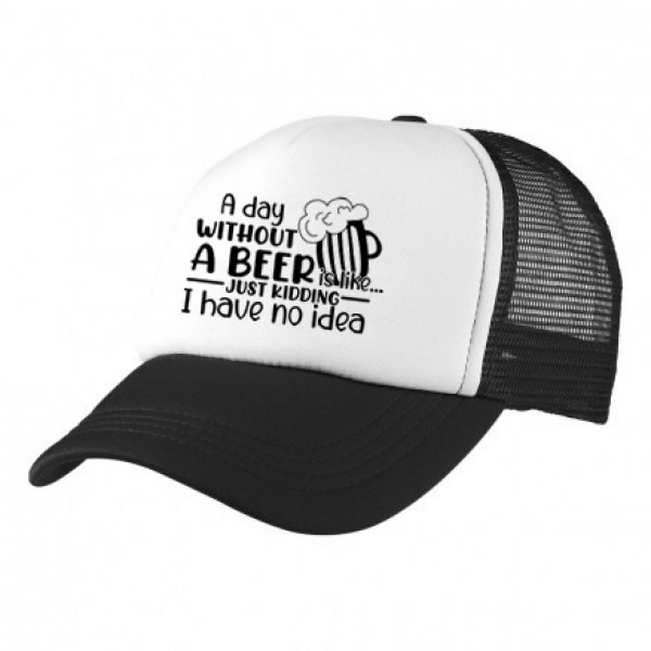 2-3XL Black / White Trucker Cap with Beer Logo (A day without beer...)
