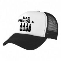 2-3XL Black / White Trucker Cap with Beer Logo (Dad needs a beer)