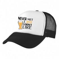 2-3XL Black / White Trucker Cap with Beer Logo (Never met a beer...)