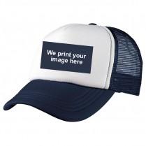 2-3XL Navy / White Trucker Cap with Custom Logo