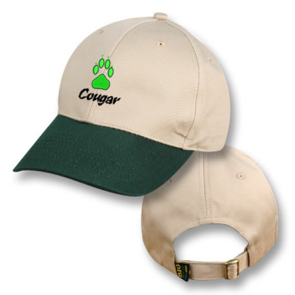 Khaki / Green Baseball Cap with Cougar Logo
