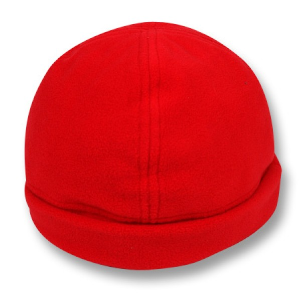 """Sunset Red"" Fleece Beanie (Plain)"